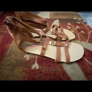 size 10 brown gladiator flat sandals